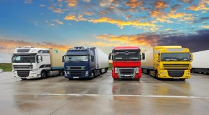 Four Trucks - Freight transportation at a sunset